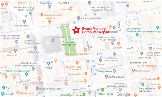 Sweet Memory Computer Repair and Business IT Support - Address Map Link - 545 Sansome St., San Francisco CA 94111